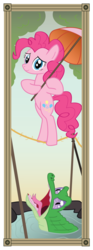 Size: 808x2176 | Tagged: artist:icaron, bipedal, crossover, duo, gummy, pet, pinkie pie, pony, safe, stretching portrait, the haunted mansion, tightrope, umbrella