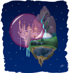 Size: 1122x1180 | Tagged: artist:zmey-ishimura, canterlot, crystal caverns, floating island, force field, safe, scenery, stars