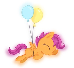 Size: 1518x1395 | Tagged: safe, artist:eljonek, scootaloo, pegasus, pony, balloon, eyes closed, female, filly, floating, scootaloo can't fly