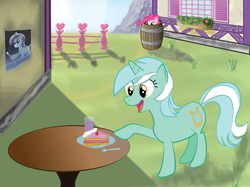 Size: 1264x946 | Tagged: safe, artist:dejiko07, lyra heartstrings, minuette, pinkie pie, barrel, brushie, cake, hiding, toothbrush