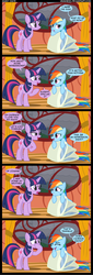 Size: 1409x4154 | Tagged: safe, artist:veggie55, rainbow dash, twilight sparkle, comic, impersonating, impressions