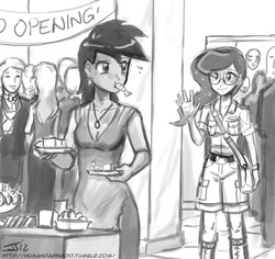 Size: 700x660 | Tagged: safe, artist:johnjoseco, daring do, princess luna, human, shrimp, comic:the erotic adventures of daring do, clothes, comic, dress, food, glasses, grayscale, humanized, monochrome