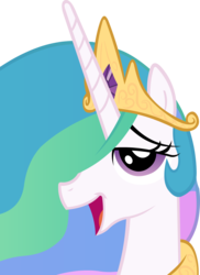Size: 2183x3000 | Tagged: safe, artist:alexstrazse, princess celestia, pony, bedroom eyes, bust, cute, cutelestia, female, hair over one eye, high res, looking at you, mare, open mouth, portrait, profile, simple background, smiling, solo, transparent background, vector