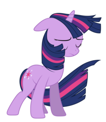 Size: 4200x4800 | Tagged: safe, artist:yanoda, twilight sparkle, pony, unicorn, the crystal empire, spoiler:s03, absurd resolution, eyes closed, female, flowing mane, mare, simple background, solo, transparent background, unhappy, unicorn twilight, vector, windswept mane