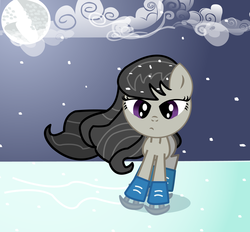 Size: 1908x1772 | Tagged: safe, artist:dragonpony, octavia melody, filly, ice, ice skates, ice skating, moon, solo, younger