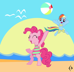 Size: 3955x3840 | Tagged: safe, artist:psychedelicskooma, pinkie pie, rainbow dash, beach, beach ball, bikini, clothes, cute, high res, one-piece swimsuit, swimsuit