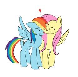 Size: 713x702 | Tagged: safe, artist:dexiom, fluttershy, rainbow dash, female, flutterdash, heart, lesbian, licking, shipping, tongue out