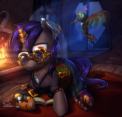 Size: 942x900 | Tagged: safe, artist:vest, oc, oc only, hummingbird, pony, amputee, book, bookmark, colt, devon, fire, fireplace, male, night, prosthetics, reading, stallion, starstruck, steampunk