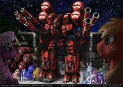 Size: 1600x1129 | Tagged: safe, artist:foxi-5, applejack, big macintosh, cheerilee, derpy hooves, fluttershy, lyra heartstrings, nurse redheart, princess celestia, princess luna, rainbow dash, rarity, twilight sparkle, earth pony, pony, :o, artillery, cannon, eyes closed, giant robot, grin, male, mecha, missile, raised hoof, smiling, stallion, weapon