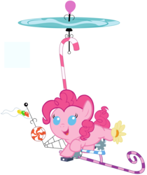 Size: 4200x5000 | Tagged: safe, artist:beavernator, pinkie pie, pony, absurd resolution, baby, baby pie, baby pony, candy, filly, flag, foal, food, pinkiecopter