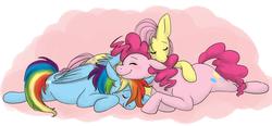 Size: 1338x621 | Tagged: safe, artist:cartoonlion, fluttershy, pinkie pie, rainbow dash, flutterdashpie, ot3, sleeping