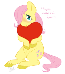 Size: 718x818 | Tagged: dead source, safe, artist:cartoonlion, fluttershy, pegasus, pony, blushing, crotchboobs, cute, filly, hair over one eye, heart, heart pillow, hug, nudity, pillow, pillow hug, simple background, sitting, smiling, solo, teats, unshorn fetlocks, valentine, white background, younger