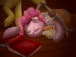 Size: 2984x2238 | Tagged: safe, artist:themiles, carrot cake, pinkie pie, pound cake, pumpkin cake, high res, sleeping