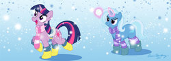 Size: 960x342 | Tagged: safe, artist:brianblackberry, trixie, twilight sparkle, boots, clothes, duo, female, magic, saddle, scarf, snow, snowball, snowfall, socks, striped socks, tack, winter