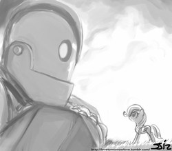 Size: 840x735 | Tagged: safe, artist:johnjoseco, fluttershy, pegasus, pony, robot, crossover, filly, grayscale, monochrome, the iron giant, warner brothers