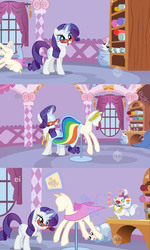 Size: 1637x2722 | Tagged: safe, opalescence, rarity, sweetie belle, fabric, glasses, mannequin, pony in a bottle, ponyquin, stuck, sweetiebuse