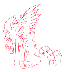 Size: 1000x1000 | Tagged: safe, artist:madmax, princess celestia, twilight sparkle, curious, filly, filly twilight sparkle, lineart, missing cutie mark, monochrome, preening