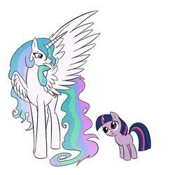 Size: 1000x1000 | Tagged: safe, artist:madmax, princess celestia, twilight sparkle, alicorn, pony, unicorn, curious, female, filly, filly twilight sparkle, mare, missing accessory, missing cutie mark, preening, unicorn twilight