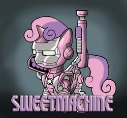 Size: 500x462 | Tagged: safe, artist:kenichi-shinigami, sweetie belle, ask iron mare rarity, crossover, sweet machine, war machine