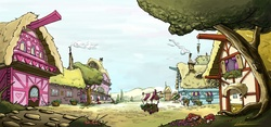 Size: 3508x1636 | Tagged: safe, artist:bering, background, ponyville, scenery, wallpaper