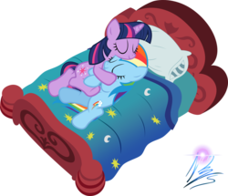Size: 1600x1379 | Tagged: safe, artist:nightmaremoons, rainbow dash, twilight sparkle, bed, female, lesbian, shipping, simple background, sleeping, transparent background, twidash, vector