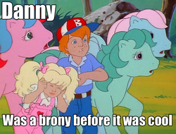 Size: 644x489 | Tagged: safe, edit, edited screencap, screencap, danny williams, molly williams, peach blossom, whizzer, wind whistler, human, g1, my little pony 'n friends, before it was cool, first brony, hipster, image macro