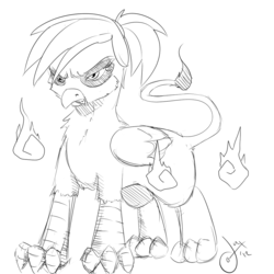 Size: 1000x1000 | Tagged: safe, artist:tentacuddles, oc, oc only, oc:rainbow feather, griffon, angry, interspecies offspring, magical lesbian spawn, offspring, parent:gilda, parent:rainbow dash, parents:gildash, solo