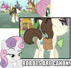 Size: 1123x1080 | Tagged: safe, edit, edited screencap, screencap, bon bon, fluttershy, gizmo, lyra heartstrings, sweetie belle, sweetie drops, pegasus, pony, robot, unicorn, putting your hoof down, canon, cutie mark, female, filly, foal, glasses, horn, male, mare, plot, saddle bag, smiling, sweetie bot, text