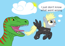 Size: 1821x1287 | Tagged: safe, artist:tgolyi, derpy hooves, dinosaur, pegasus, pony, tyrannosaurus rex, clothes, costume, female, future twilight, i just don't know what went wrong, mare, svg, time travel, vector