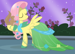 Size: 1900x1371 | Tagged: safe, artist:tgolyi, fluttershy, squirrel, the best night ever, clothes, dress, gala dress, solo, svg, vector