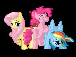 Size: 1024x768 | Tagged: safe, artist:celyann, fluttershy, pinkie pie, rainbow dash, cake, flutterdashpie, sunglasses