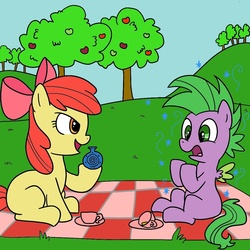 Size: 1000x1000 | Tagged: safe, artist:madmax, apple bloom, spike, female, male, ponified, ponified spike, shipping, spikebloom, straight