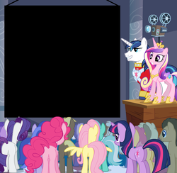 Size: 1024x1000 | Tagged: amethyst star, background pony, background pony audience, coco crusoe, dizzy twister, doctor whooves, exploitable, flutterbutt, fluttershy, hasbro, lyra heartstrings, mjölna, official, orange swirl, pinkie pie, plot, princess cadance, projector, rarity, safe, seafoam, sea swirl, shining armor, silver spanner, template, time turner, twilight sparkle, wedding video projector meme, welch