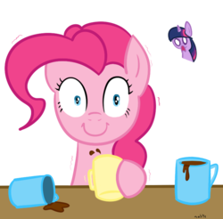 Size: 723x712 | Tagged: safe, artist:elslowmo, artist:nasse, pinkie pie, twilight sparkle, c:, coffee, d:, female, looking at you, morning ponies, pinkie found the coffee, shocked, simple background, smiling, this will end in tears, transparent background, wide eyes, xk-class end-of-the-world scenario