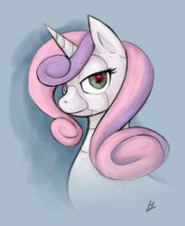 Size: 983x1199 | Tagged: safe, artist:theinkbot, sweetie belle, pony, robot, robot pony, unicorn, bust, female, horn, looking at you, older, solo, sweetie bot