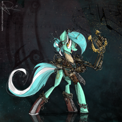 Size: 800x800 | Tagged: safe, artist:nastylady, lyra heartstrings, pony, unicorn, abstract background, alternate hairstyle, boots, female, hand, happy, lyre, mare, mechanical hands, robotic arm, shoes, smiling, solo, steampunk