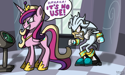 Size: 1000x600 | Tagged: source needed, useless source url, safe, artist:putuk, princess cadance, queen chrysalis, changeling, ask silver the hedgehog, a canterlot wedding, angry, crossover, disguise, disguised changeling, fake cadance, it's no use, silver the hedgehog, sonic the hedgehog (series)