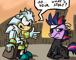 Size: 500x400 | Tagged: source needed, useless source url, safe, twilight sparkle, ask silver the hedgehog, crisis city, crossover, dialogue, future twilight, silver the hedgehog, sitting, sonic 06, sonic the hedgehog (series), tumblr