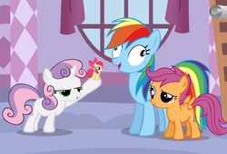 Size: 1280x869 | Tagged: artist needed, safe, apple bloom, rainbow dash, scootaloo, sweetie belle, cutie mark crusaders, derp, micro, shrunk, wat