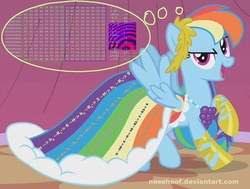 Size: 1162x878 | Tagged: safe, artist:neeshoof, rainbow dash, clothes, cryptography, dress, gala dress, rainbow table, security