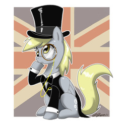 Size: 900x900 | Tagged: safe, artist:johnjoseco, derpy hooves, pegasus, pony, britain, british, clothes, costume, cute, derpabetes, female, hat, mare, monocle, monocle and top hat, solo, top hat, union jack