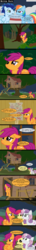 Size: 1183x8232 | Tagged: safe, artist:veggie55, apple bloom, rainbow dash, scootaloo, soarin', sweetie belle, clubhouse, comic, crusaders clubhouse, cutie mark crusaders, older
