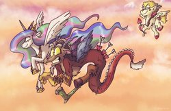 Size: 1625x1052 | Tagged: safe, artist:megalotis, artist:mitse-the-otocyon, artist:mitsemegalotis, artist:mitssch, discord, princess celestia, alicorn, draconequus, pony, arrow, cupid, dislestia, female, flying, heart arrow, literal butthurt, male, mare, pain, quiver, shipper on deck, shipping, straight