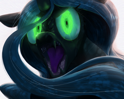Size: 1280x1024 | Tagged: dead source, safe, artist:sunibee, queen chrysalis, changeling, changeling queen, angry, bust, fangs, female, frown, glare, glowing eyes, hilarious in hindsight, hissing, looking at you, looking back, mouth, nose wrinkle, open mouth, portrait, sharp teeth, simple background, solo, tongue out, white background