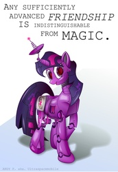 Size: 963x1401 | Tagged: safe, artist:ultraspacemobile, twilight sparkle, pony, robot, robot pony, looking at you, solo, twibot