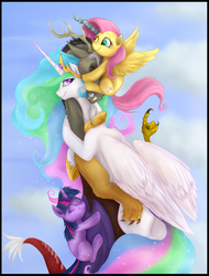 Size: 892x1174 | Tagged: safe, artist:celestiathegreatest, artist:mn27, discord, fluttershy, princess celestia, twilight sparkle, alicorn, draconequus, pegasus, pony, unicorn, bedroom eyes, cloud, cute, discolight, discord gets all the mares, discoshy, discoshylestia, discoshylestialight, discoshylight, discute, dislestia, eyes closed, facehug, female, fgsfds, fluffy, frown, gang hape, gritted teeth, hape, hilarious in hindsight, hug, lucky bastard, male, messy mane, pony pile, shipping, size difference, smiling, straight, unicorn twilight, wink