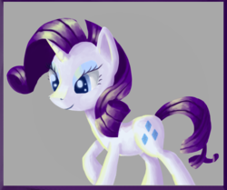 Size: 798x668   Tagged: safe, artist:paintrolleire, rarity, pony, unicorn, abstract background, female, mare, raised hoof, smiling, solo