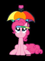 Size: 1075x1434 | Tagged: safe, artist:mlpazureglow, pinkie pie, pony, feeling pinkie keen, female, hat, sitting, solo, umbrella hat