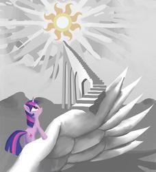 Size: 850x932   Tagged: safe, artist:gsphere, twilight sparkle, pony, unicorn, solo, stairs, sun, unicorn twilight
