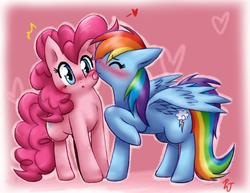 Size: 1387x1069 | Tagged: safe, artist:mahoxyshoujo, pinkie pie, rainbow dash, earth pony, pegasus, pony, :<, :p, blushing, cute, dashabetes, diapinkes, eyes closed, female, floppy ears, fluffy, heart, kissing, lesbian, licking, love, mare, pinkiedash, raised hoof, shipping, spread wings, surprised, tongue out, wide eyes